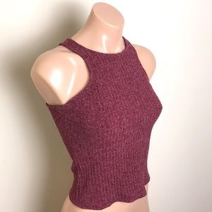 Charlotte Russe Maroon Ribbed Cropped Tank Top